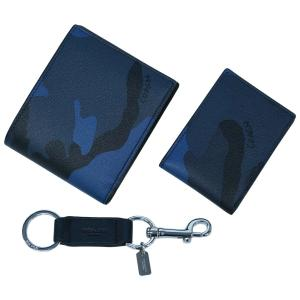 コーチ 財布 F22531-DYB メンズ 二つ折り 札入れ 取り外しカードケース 3-IN-1 ウォレット ウィズ カモ プリント ブルーカモ/ブラック アウトレット|come