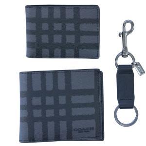 コーチ 財布 F22534-MSE メンズ 二つ折り 札入れ 取り外しカードケース 3-IN-1 ウォレット ウィズ キーリング グラフィット/ブラック アウトレット|come