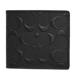 コーチ 財布 F75363-BLK メンズ 二つ折り 小銭入れ付き コイン ウォレット シグネチャー クロスグレインレザー ブラック アウトレット|come