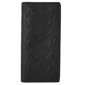 コーチ 財布 F75365-BLK メンズ ファスナー長札 ブレスト ポケット ウォレット シグネチャー クロスグレインレザー ブラック アウトレット|come