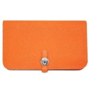 エルメス 財布 H043070CK93 長財布 ポルトフォイユ ドゴンデュオ トゴ オレンジ T刻印  come