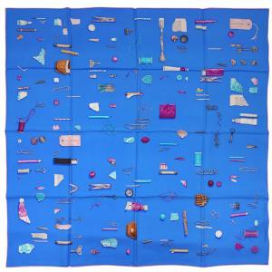 エルメス スカーフ ソルド カレ ツイル シルク100% 90CMS IN THE POCKET アズールブルー/フューシャ/ターコイズ 291101|come