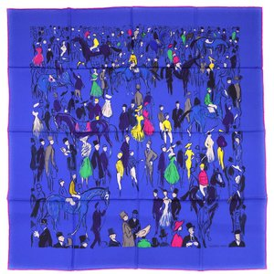 エルメス スカーフ ソルド カレ ツイル シルク100% 90CMS PADDOCK ブルー/イエロー/グリーン 291105|come