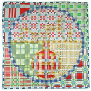 エルメス スカーフ ソルド カレ ツイル シルク100% 90CMS EXLIBRIS A CARREAUX グリーン/ブルー/ルージュ 291109|come