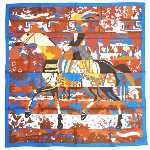 エルメス スカーフ ソルド カレ ツイル シルク100% 90CMS LES DIX CAVALIERS ブルー・ジターヌ/シナモン/ホワイト 29340|come
