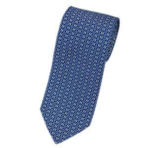 エルメス ネクタイ 659092T HERMES ソルド メンズ ジャガード デザイン H シルク100% ネイビー/ブルー/ホワイト|come