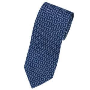 エルメス ネクタイ 659097T HERMES ソルド メンズ ジャガード デザイン シルク100% ネイビー/スカイブルー|come