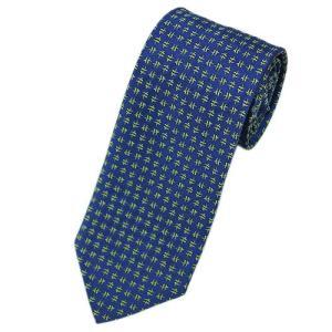 エルメス ネクタイ 659108T HERMES ソルド メンズ ジャガード デザイン シルク100% ブルー/ライトグリーン|come
