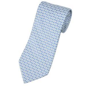 エルメス ネクタイ 758852T HERMES ソルド メンズ ジャガード デザイン シルク100% ライトブルー/ホワイト|come