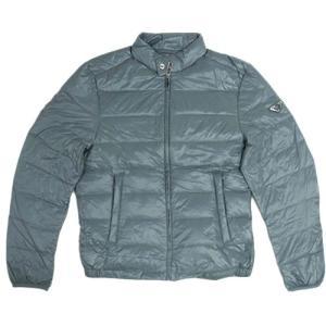 プラダ ダウン ジャケット SGA462 メンズ ジップアップ ポーチ付き ナイロン ACCIAIO ブルーグレー 50サイズ アウトレット |come