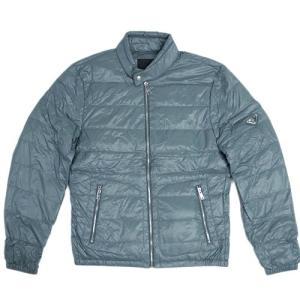 プラダ ダウン ジャケット SGA506 メンズ ジップアップ ポーチ付き ナイロン ACCIAIO ブルーグレー シルバー金具 50サイズ アウトレット |come