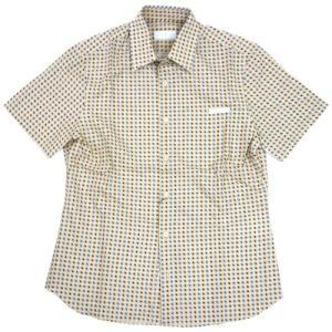 プラダ シャツ UCS137 メンズ 半袖 コットン100% ドットプリント LAVANDA ベージュ/ブラウン/ブルー|come