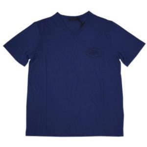 プラダ Tシャツ UJM507 PRADA メンズ 半袖 Vネック コットン100% BALTICO バルティコ ブルー Lサイズ アウトレット|come