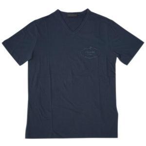プラダ Tシャツ UJM507 PRADA メンズ 半袖 Vネック コットン100% BLEU ネイビー アウトレット|come