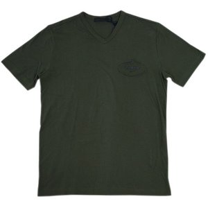 プラダ Tシャツ UJM507 PRADA メンズ 半袖 Vネック コットン100% MILITARE ミリターレ ミリタリーグリーン Sサイズ アウトレット|come