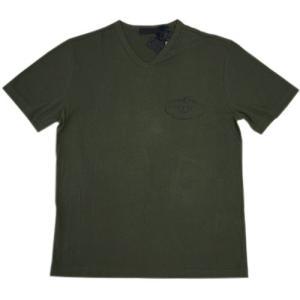 プラダ Tシャツ UJM507 PRADA メンズ 半袖 Vネック コットン100% MILITARE ミリターレ ミリタリーグリーン Lサイズ アウトレット わけあり|come