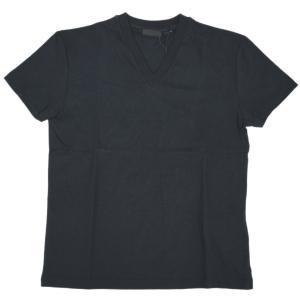 プラダ Tシャツ UJM887 PRADA メンズ 半袖 Vネック 無地 コットン100% NERO ネロ ブラック Mサイズ アウトレット|come
