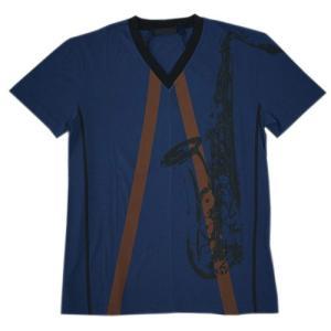 プラダ Tシャツ UJN238 PRADA メンズ 半袖 Vネック サックスプリント コットン100% DENIM+CACAO デニムブルー/カカオブラウン アウトレット|come