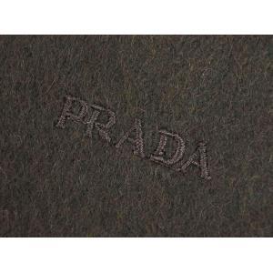 プラダ マフラー USC128 カシミア/ウール 無地  EBANO エバノ ブラウン ロゴ刺繍|come|05