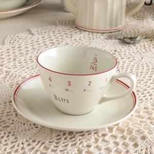 キッチン雑貨 カフェ風食器 ビストロ カップ&ソーサー レッドライン キッチン雑貨|comfy-shop