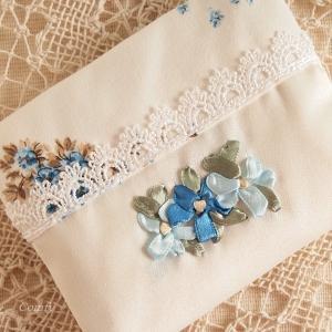 ポケットティッシュカバー おしゃれ レディース リボン刺繍ミニティッシュケース あじさい ブルー|comfy-shop