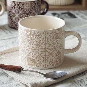 コーヒータイムが楽しくなりそうな、 とってもかわいいモザイク模様のマグカップ! 優しいベージュとホワ...