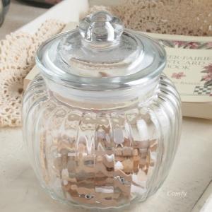 ガラスジャーSS 北欧カントリー  アンティーク調 キッチン雑貨 容量:700cc|comfy-shop