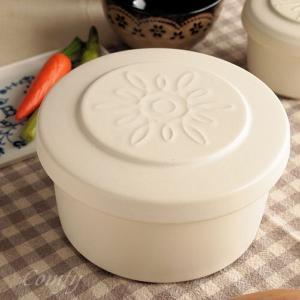 おひつ 陶器 ご飯ジャー ごはん 保温保湿 ホワイトL キッチン雑貨 ナチュラルカントリー 北欧|comfy-shop
