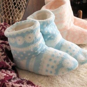 防寒対策 ふわふわもこもこ ルームシューズ ブルー ハイカット 室内履き|comfy-shop