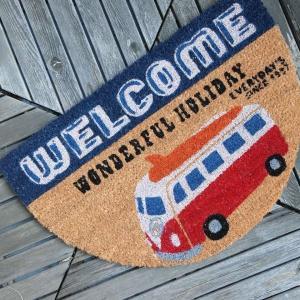 玄関マット 屋外 天然素材 ヤシマット 半円 サーフバス|comfy-shop