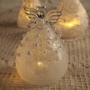 クリスマス オーナメント ガラス ガラスLEDエンジェル パール|comfy-shop