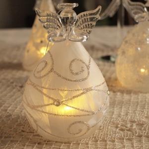 クリスマス オーナメント ガラス ガラスLEDエンジェル レース|comfy-shop