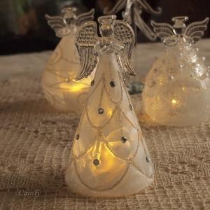 クリスマス オーナメント ガラス ガラスLEDエンジェル トール|comfy-shop