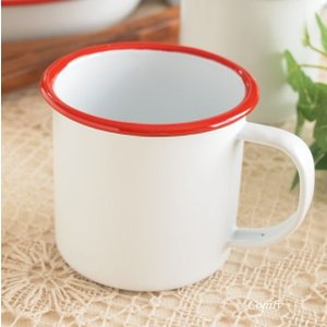 ホーロー マグカップ ホワイト × レッド|comfy-shop
