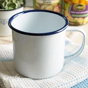 マグカップ ホーロー雑貨 ホーローマグカップ ホワイト×ネイ...
