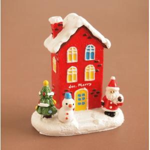 クリスマス雑貨 ミニチュアハウス ギフトレッドハウス|comfy-shop