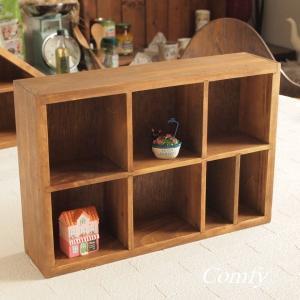 カントリー雑貨 アンティーク調 木製 コレクションケース コレクションシェルフ スクエア ナチュラル雑貨 アンティーク|comfy-shop