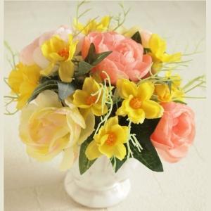 アーティフィシャルフラワー アレンジメントフラワー オレンジラナンキュラス キバナコスモスミックス 造花 インテリア雑貨|comfy-shop