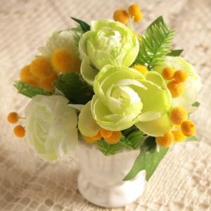 アーティフィシャルフラワー アレンジメントフラワー グリーンローズ ミモザ ミックス 造花 インテリア雑貨 comfy-shop