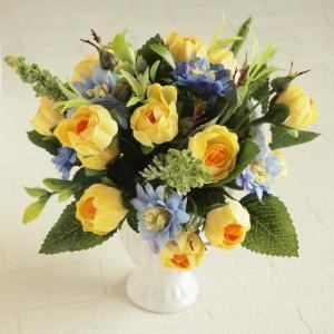 アーティフィシャルフラワー アレンジメントフラワー イエローローズ  ブルースターフラワー ミックス 造花 インテリア雑貨|comfy-shop