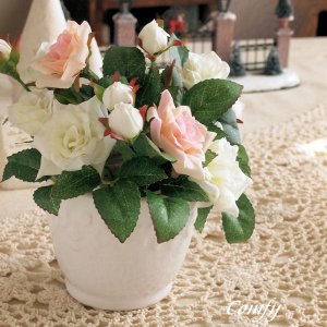 アーティフィシャルフラワー 造花 アレンジメント ミニローズ|comfy-shop