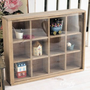 カントリー雑貨 アンティーク調 木製 コレクションケース ナチュラル雑貨 アンティーク|comfy-shop