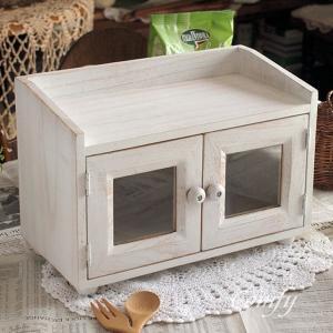 キッチン雑貨 スパイスラック キャビネット 1段 ホワイト シェルフ アンティーク調 キッチン|comfy-shop