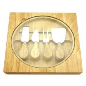チーズナイフ4本&カッティングボード ウッド収納セット まな板|comfy-shop