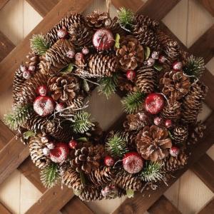 クリスマスリース アップル&パイン スノーラメリース インテリア雑貨|comfy-shop