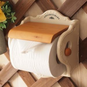 トイレットペーパーホルダー 陶器 天然木 カントリー雑貨 コレクティブルズ|comfy-shop