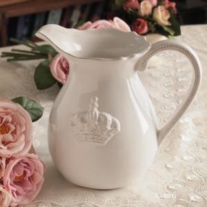 ミルクピッチャー ウォーターピッチャー 花瓶 レリーフ アンティーク調 クラウン ジャグ|comfy-shop