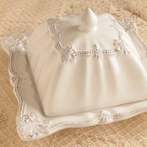 カフェ風食器 クラッシックスタイル レリーフ クロシュつきプレート カバー フルール アンティーク調|comfy-shop