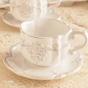 カフェ風食器 クラッシックスタイル レリーフ カップ&ソーサー フルール アンティーク調|comfy-shop