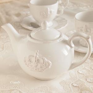 ティーポット おしゃれ カフェ風食器 レリーフ アンティーク調 クラウン|comfy-shop
